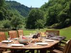 Outdoors dining and view of Coreglia Antelminelli at the head of the valley