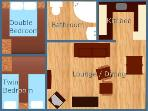 floorplan - lounge & twin room look out over countryside