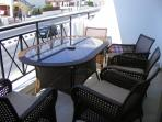 Balcony seats for 5 under overhead canopy