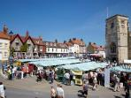 Malton market place is 10 minutes' walk from the flat.