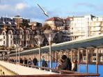 View from Boscombe Pier- Burlington Mansions centre top by arrow