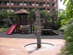 Children's playground and pool shower...