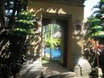 Traditional Balinese style front entrance from gated private parking area