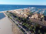 Sotogrande Marina from the air. Torregudiaro Beach is just a 2 minute walk from the Apartment.