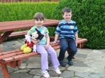 Garden bench for picnics.