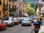 Bagni di Lucca main street is filled with shops, bars, restaurants, supermarkets and banks