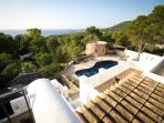 Pool & sea views from roof terrace