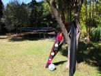 Dans le jardin activités diverses: trampoline, ping pong, babyfoot, etc.