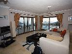 lounge with views through patio doors