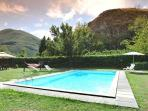 Pool with views of mountains