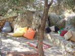 The lovely Kosk area where you can chill under the dappled shade of the olive trees