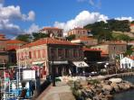 View of Heliades complex and Helia from the Molyvos harbour