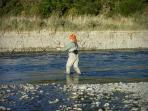 Fly fishing on the Oreti River- one of life's true pleasures!