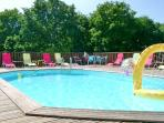 8 x 4.5 metre 28 degree heated pool with large decked area. Child safe, private and secluded.