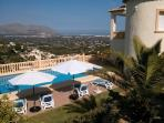 Villa and heated pool with view to valley and coast