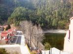 View of guest house & lake from the hill