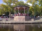 The bandstand on the River Dee next to Riverside Aparment