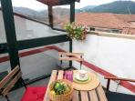 The terrace with a view on the mountains of Apuane