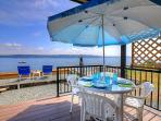 The deck lets you dine al fresco while enjoying the view
