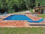 Pool and shed with wc, dressroom, table and seating