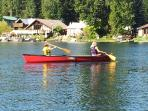 Enjoy our canoe for a paddle across the lake.