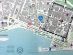 Map showing Poet Square Apartment; right by the Riva promenade
