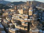 Village of Sarnano in winter time
