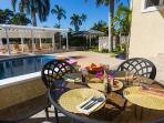 Enjoy your poolside dining area with gas BBQ