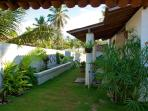 Tropical garden at the back with a large sofa