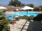 View from entrance terrace to pool