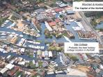 Aerial view of Star Cottage, showing the superb riverside location in Wroxham