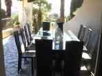 Terrace dining area for 12 to 14 with barbeque