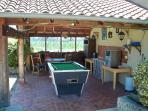 Covered Terrace and Pool Table