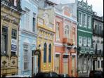 Street with traditional colonial houses