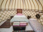 The second yurt can be made into a family yurt sleeping 4