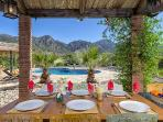 Outdoor dining of BBQ with views