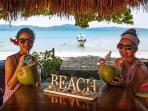 Our Guests enjoying coconut juice.