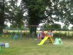 Large garden with trampolines,swings,slides,see-saws,table tennis,football etc