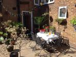 Outdoor seating area and garden
