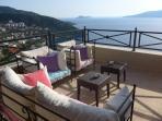 Uninterrupted views of Kalkan Bay and the Mediterranean beyond