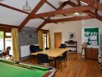 Games room - Pool table, darts board, tabletop games, jigsaws and selection of books and leaflets