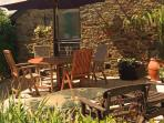 Teak table and chairs for al fresco dining