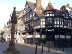 Historic Chester City centre with its ancient thoroughfares and iconic rows are a short walk