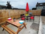 Outdoor dining (Irish weather permitting), and an enclosed barbecue space