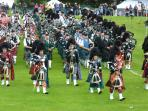 Massed Pipe Bands at Dufftown Highland Games - can also be seen at Tomintoul and Aberlour