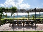 Terrace outside dining room, stunning views of Chianti