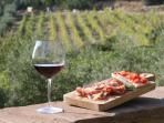 Degustate Vino Chianti e salumi con davanti ai vostri occhi la splendida campagna toscana