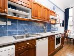 Galley kitchen is really well equipped with a good range of appliances, cookware & tableware.
