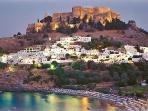 Lindos at the sunset