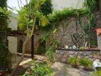 Shady rear garden at Palm Villa